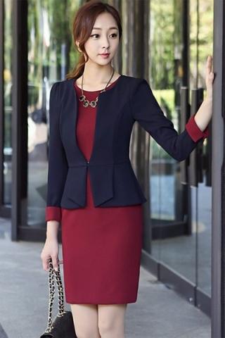 Đầm công sở giả vest phong cach hàn quốc giá sỉ rẻ đẹp - TD113