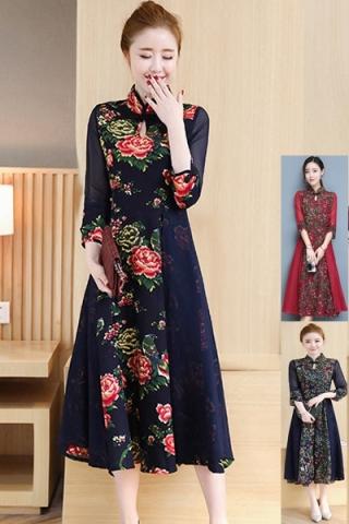 Đầm maxi cổ tàu họa tiết hoa - TD276