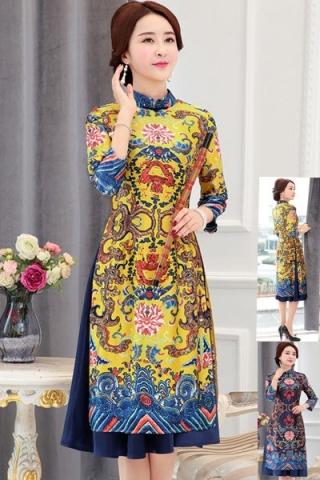 Đầm dáng áo dài họa tiết cao cấp - TD277