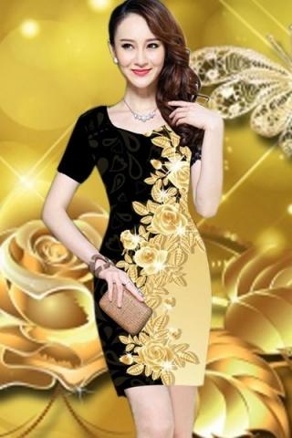 Đầm họa tiết hoa dát vàng nổi bật - TD175