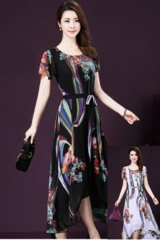 Đầm xòe họa tiết hoa phong cách Hàn Quốc - TD278