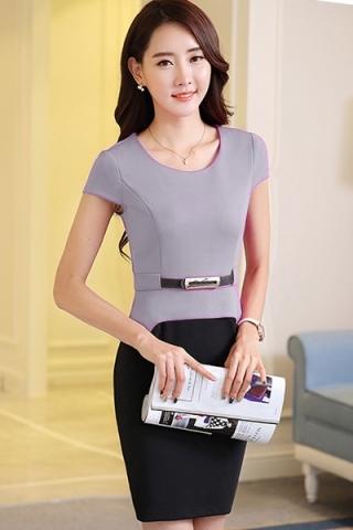 Đầm công sở peplum thời trang xám  - TD190