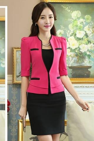 Sét  áo vest  + Chân váy kèm áo lót công sở màu hồng - TD142
