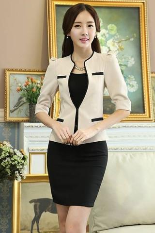 Sét  áo vest  + Chân váy kèm áo lót công sở màu kem - TD143