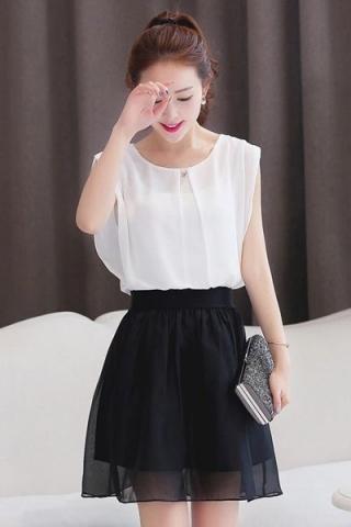 Sét áo voan và chân lưới váy trắng giá sỉ tốt - TS81